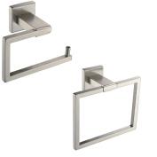 XVL Bathroom Accessories Set, Toilet Roll Paper Holder, Towel Ring Holder Stainless Steel, Brushed Nickel G602-G
