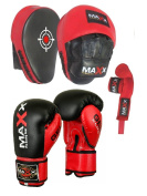 Maxx BOXING GLOVES & LEATHER CURVED FOCUS PADS BLUE WHITE HAND WRAPE MMA Boxing PINK