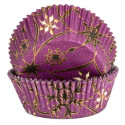 Purple Cupcake Cases with Gold and Black Star Design x60 by Yolli