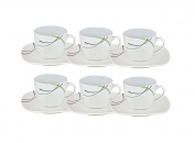 Set of 6 espresso cups with saucer 12.3 CM 11cl Donna-White porcelain with line decoration in Black, Grey or Green
