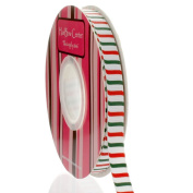 1cm Christmas Stripe Grosgrain Ribbon 100 Yard