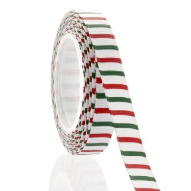 1cm Christmas Stripe Grosgrain Ribbon 5 Yard