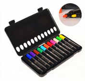 Kids Drawing Set 12 Assorted Watercolour Marker Safe Non-Toxic Doodling Coloured Marker Pen Portable