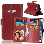 J1 2016 Case, Galaxy Amp 2 Case, Galaxy Express 3 Case, Asstar [Stand Feature] Luxury Premium PU Leather [Card Slot] Flip Protective Case For Samsung Galaxy J1 2016 / Amp 2 / Express 3