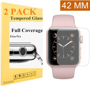 Apple Watch 42mm Screen Protector (Series 2) [Full Coverage] [2 Pack], Asstar Anti-Bubble, Ultra-Thin Ultra HD Premium Tempered Glass Screen Protector For Apple Watch 2 42mm