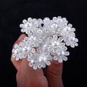 Stuffwholesale 20pc Crystal Rhinestone Flower Hair Pins Wedding Bridal Bouquet Party Pearl Hair Clips