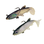 Meetory 2 Pack Silicone Soft Lures Fishing Tackle Baits with Treble Hook