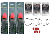 PIKE TEAR DROP 35g FLOATS, SIZE 6 TREBLE HOOKS, 20lb TRACES AND 6 FLAGS
