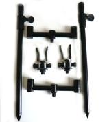 Phoxinus Mini Buzz Bars x2, Bank Sticks x2 and Adjustable Anodised Aluminium Butt Rest in Black x 2