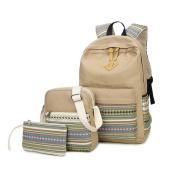 Canvas Backpack School Bags Set for Teens Girls, Casual Daypack + Shoulder Bag + Pencil Case-Type C Khaki