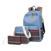 Canvas Backpack School Bags Set for Teens Girls, Casual Daypack + Shoulder Bag + Pencil Case-Type C Light Blue
