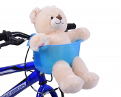 BLUE TOY TEDDY BEAR FRONT BIKE BASKET DOLL HOLDER SEAT CHILD BOY GIRL FUN ACCESSORY