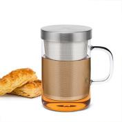 Samadoyo High Quality Borosilicate Glass Tea Cup with Food Grade SUS #304 Infuser Filter, Tea Mug for Brewing Both Loose Leaf Tea or Tea Bag, Heat Resistant, 500ml, LFGB Test Passed.