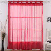 Deconovo Grommet Window Sheer Curtain Wide Width Linen Look Curtain for Dining Room Red 80×210cm 1 panel