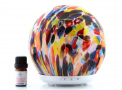 Prairie Essentials Flora Essential Oil Ultrasonic Cool Mist Glass Diffuser Includes 5ml bottle of Relax & Unwind Essential Oil with Quick Start Guide