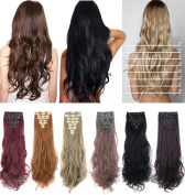 DODOING 8PCS 60cm Long Wavy Curly Full Head Clip in Hair Extensions Double Weft for Women Lady Hairpiece Fashion - Bleach Blonde