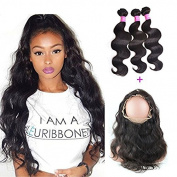 """XCCOCO Hair Mixed Lenth Hair 8A Grade Brazilian Body Wave Human Hair 3Bunldes With 360 Full Lace Frontals 22.5""""x4""""x2"""" Body Wave Lace Band Frontal Closure"""