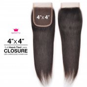 Queen By Ali Unprocessed Brazilian Human Hair Weave Hand-Tied 4X4 Lace Parting Closure Straight (NATURAL)