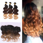 Tony Beauty Hair Honey Blonde 1B 4 27 Body Wave Hair Extension With Lace Frontal Closure 13x 4 Ombre 3 Tone Hair Bundles With Ear To Ear Frontal Closure