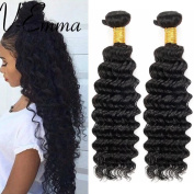 V-Emma Brazilian Virgin Deep Wave Hair Weave 2 Bundles Unprocessed Remy Hair Weft Extensions Human Hair Natural Colour 70cm