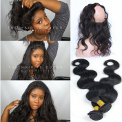 """Youth Beauty 8A Grade Brazilian Virgin Human Hair Body Wave 2 Bundles With 360 Full Lace Band Frontals 22.5""""x4""""x2"""" Lace Band Frontal Closure With Baby Hair"""