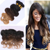 Tony Beauty Hair Ombre #1B/4/27 Body Wave Hair Extension With Lace Frontal 13x 4 Dark Root Honey Blonde Hair Weaves 3Pcs With Ear To Ear Frontal