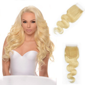 Blonde Lace Closures Brazilian Virgin Hair with Baby Hair Body Weave #613 Colour Free Part Closure