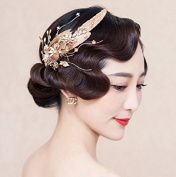 Gold Baroque Leaves Floral Hairpin Headdress