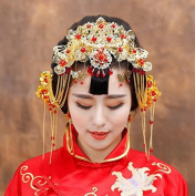 Red Chinese Coronet Cheongsam Beads Tassels Frontlet