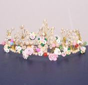 Colourful Flowers Fairy Beads Rhinestones Pearls Crown