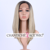 Chantiche Cheap Ombre Straight Short Bob Synthetic Lace Front Hair Wigs Side Parting Dark Roots to Blonde Synthetic Lace Wig for Ladies 36cm
