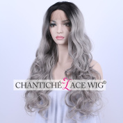 Chantiche Wavy Ombre Lace Front Synthetic Wigs Black Roots to Grey Heat Resistant Fibre Hair Synthetic Lace Wig for Women 60cm