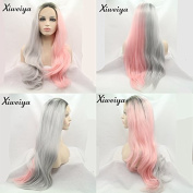 Xiweiya Ombre black to silver pink nature straight Heat Resistant Wigs For Women Hairstyle Wig Girls dark root half hand tied Synthetic Lace Front replacement long wavy Wig