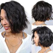 NiceToBuy Glueless Short Wavy Bob HairCut Brazilian Virgin Human Hair Lace Front Wigs for Women 130% Density