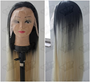 Beauty_temptation Ladies Ombre 1B Dark Root/Platinum Blonde Long Straight Synthetic Lace Front Wig