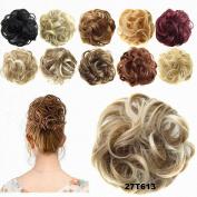 FESHFEN Donut Hair Chignons Wig Strawberry Blonde & Bleach Blond Ombre Hairpiece Scrunchy Hair Bun Updo Hairpiece Ponytail Extensions Hair Extensions Wavy Curly Messy Hair Bun Extensions
