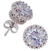 Pair of 316L Surgical Steel Earrings / Ear Studs With Clear Rhinestones / Crystals