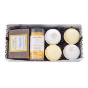 Bath / Spa Gift Set | Natural Handmade Oatmeal, Milk & Honey Soap Bar, Vanilla & Honey Scented Dead Sea Bath Salts, 4 Fizzy Bath Bombs (2 Each, Oatmeal, Milk & Honey and Honey)|Gift Boxed Tatum & Shea