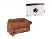 Dwellbee Classic Top Grain Leather Toiletry Bag and Dopp Kit with LokSak Waterproof Bag