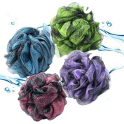 Best Luxury Loofah Bath & Shower Pouffe Pack (Large Size) with 4 Mesh Sponge Scrubbers, BONUS HANGING HOOKS, . Luffa Puffs Exfoliates for Smooth, Soft Radiant Skin