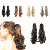 FESHFEN 60cm 170g Hair Piece Pony Tail Ponytail Hair Extensions Hairpiece Long Straight/Voluminous Curled Wavy Clip In/On Claw Ponytail 2# Darkest Brown
