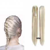 FESHFEN 60cm 170g Hair Piece Pony Tail Ponytail Hair Extensions Hairpiece Long Straight/Voluminous Curled Wavy Clip In/On Claw Ponytail 60# Ash Blonde