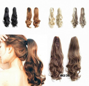 FESHFEN 60cm 170g Hair Piece Pony Tail Ponytail Hair Extensions Hairpiece Long Straight/Voluminous Curled Wavy Clip In/On Claw Ponytail M2/30 Darkest Brown and Light Auburn Mixed