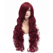 Flovex 80cm Long Curly Wavy Anime Cosplay Wigs Natural Costume Party Hair
