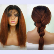 N.L.W.8A Grade hair front lace wigs Brazilian virgin remy hair Ombre two tone 1b/30 hair colour Italian kinky yaki Glueless front lace wigs with strap and combs