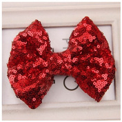 Girls Sequins Hair Clips Alligator Bows Pin,Red