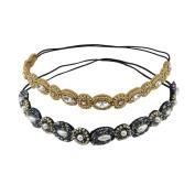 yueton Pack of 2 Handmade Crystal Rhinestone Beads Elastic Headband Hair Band Women Hair Accessories