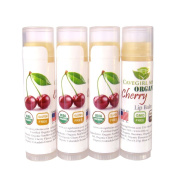 4-Pack Certified USDA Organic Lip Balm. CAVEGIRL MINE - Organic Cherry Flavour. Made in USA. Paraben Free. GMO Free. Everyday use. Gluten Free. Deeply Moisturises & Softens Chapped Dry Lips.