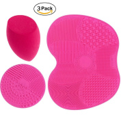 3 pcs/set Rose Makeup Brush Cleaning Mat Pad with Sucker, 1 Apple Shape Mat,1 Circle Shape Mat and 1 Makeup Sponge Puff, Silicon Brush Cleaner Scrubber Board