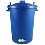 CrazyGadgetÃ'® 85 Litre 85L Extra Large Colour Plastic Dustbin Garden Storage Unit Bin Clip On Locking Lid Heavy Duty - for Rubbish Waste Animal Feed etc. (Dark Blue) by CrazyGadget